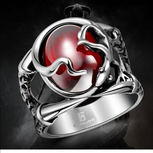 Other - Masculine Red Stone Stainless Steel Carved  Ring